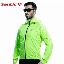 Santic Men s Cycling Hooded Jerseys Rainproof Waterproof Bicycle Bike Rain Coat Raincoat with Removable Hat
