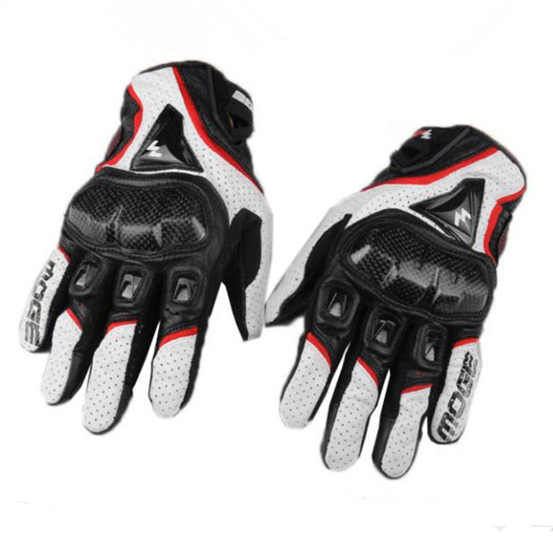 Men Breathable Touch Screen Genuine Leather & Carbon Fiber Motorcycle Gloves Outdoor motocross off-road Racing Protective Gloves