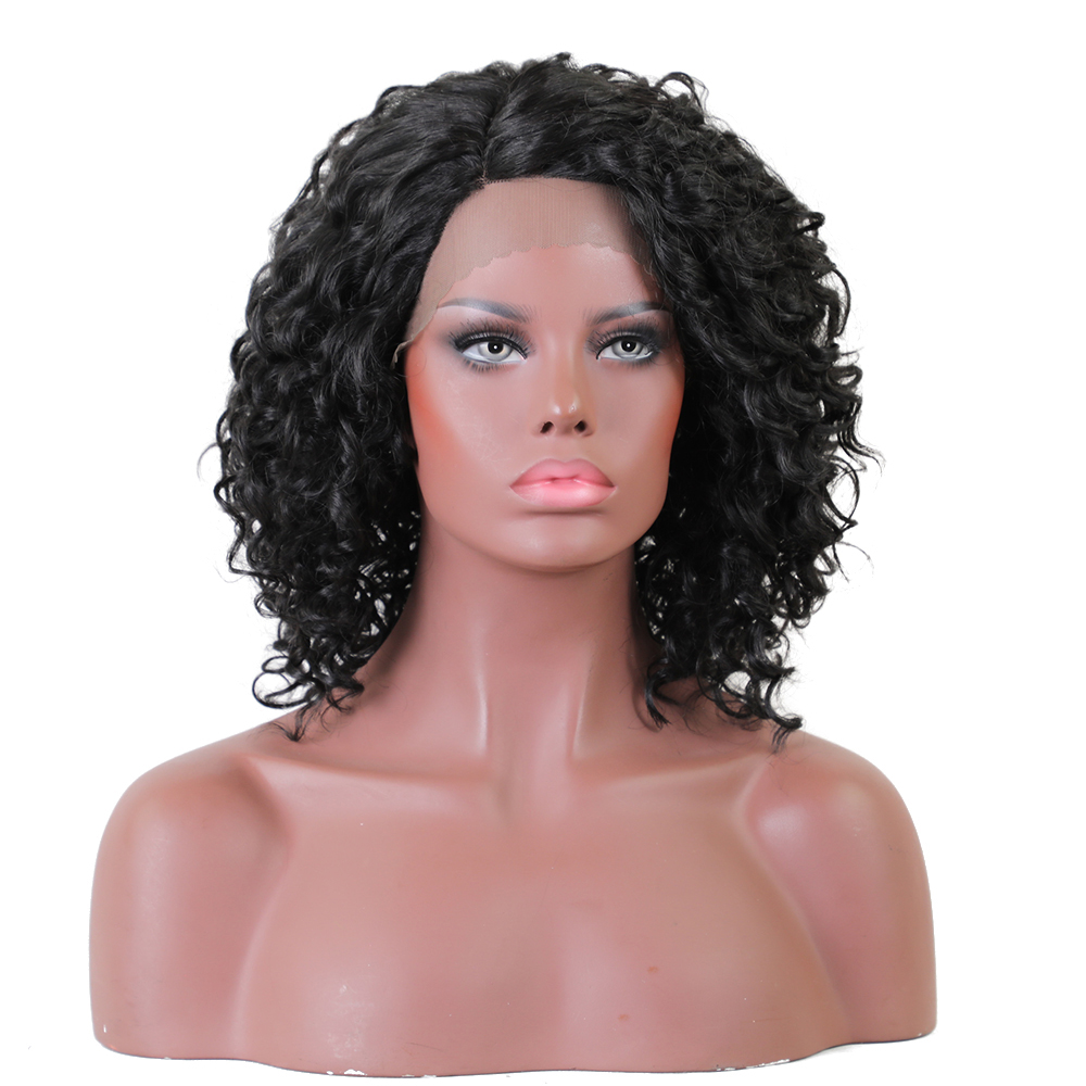 Element Glueless Side Part Kort Curly Afro L Parti Swiss Synthic Lace - Syntetiskt hår - Foto 2