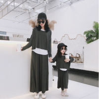 Family Look Casual Korean Long Sleeve Sweatshirt Vest Pants 3pcs Mommy and Daughter Matching Clothes Matching Family Outfit 2019