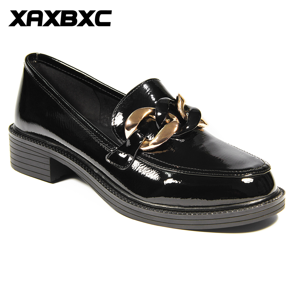 XAXBXC Retro British Style Leather Brogues Oxfords Flat Women Shoes Black Metal Chain Round Toe Handmade Casual Lady Shoes xaxbxc 2017 retro british autumn black pumps pu leather brogue shallow lace up oxfords women shoes handmade casual lady shoes