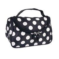5x Black Zipper Cosmetic Bag Toiletry Bag Make Up Bag Hand Case Bag With Dot Patterns