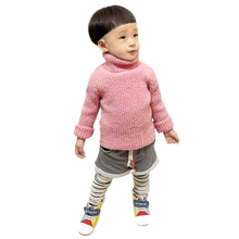 Girls Pullover Ropa Nino Solid Color Turn-down Collar Stretch Long-sleeved Knited Shirt Boys Sweaters Kids Winter Sweater 2016