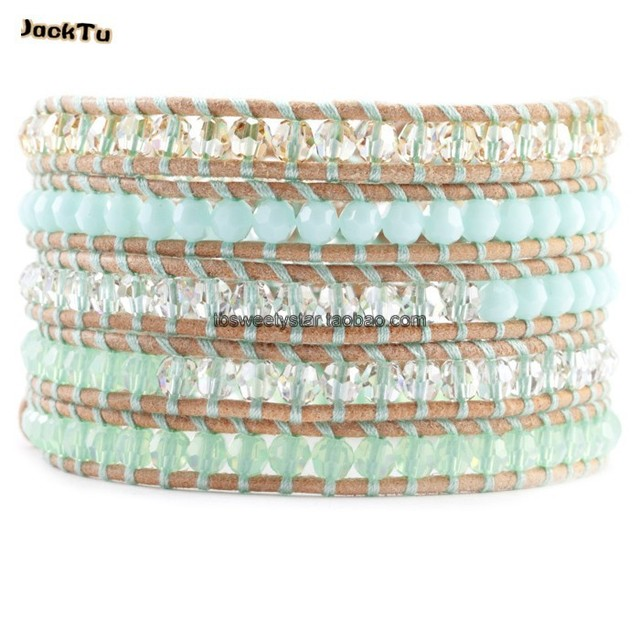 2017 new summer crystal leather wrap bracelet
