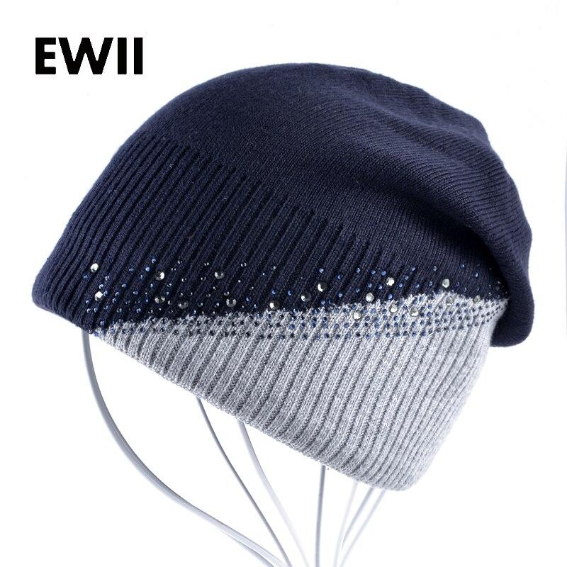 3e6e511441db4 Senhoras strass malha skullies chapéu cap meninas gorros de inverno chapéus  para mulheres mulheres gorros sólidos caps quentes gorros bonnet