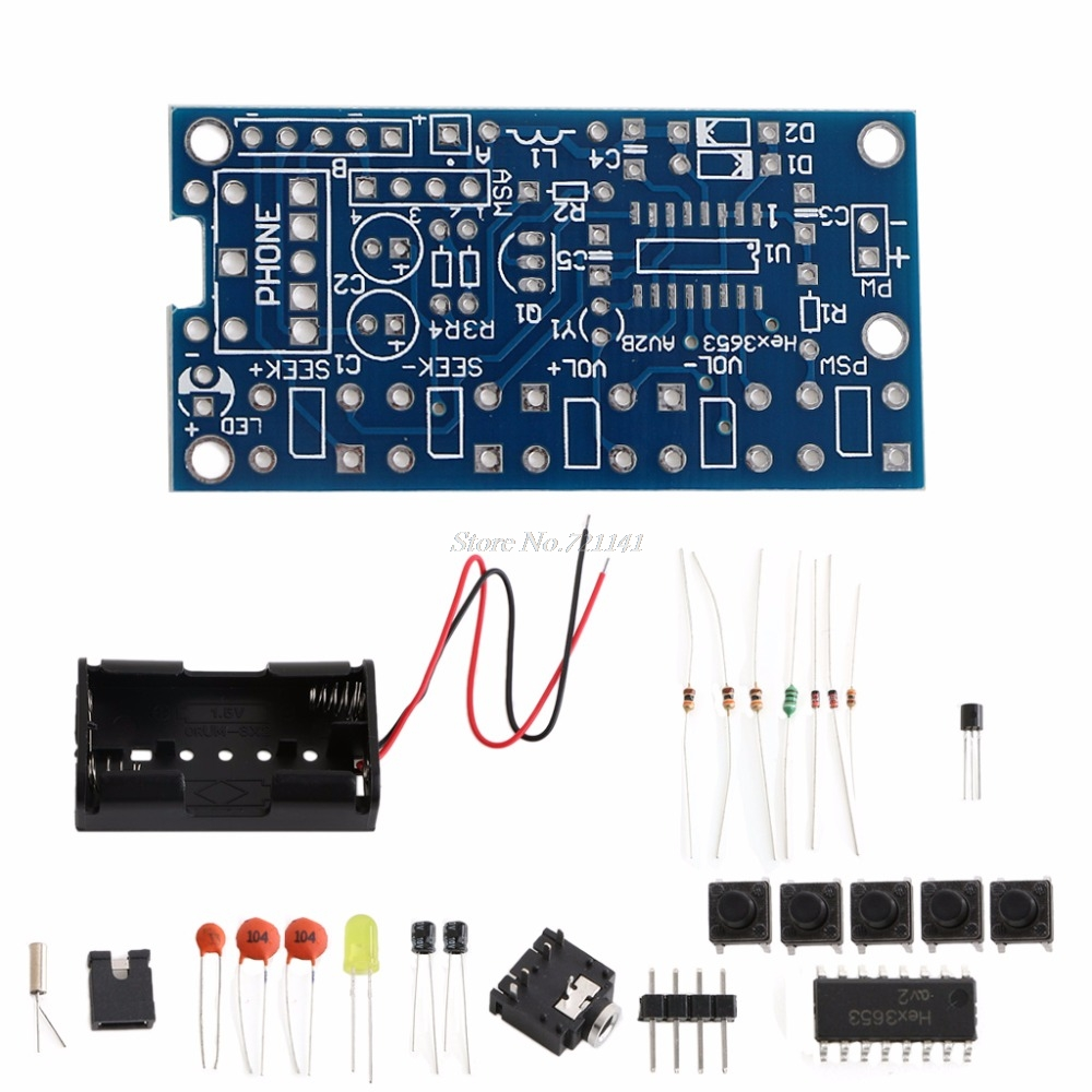 Wireless Stereo FM Radio Receiver PCB Module DIY Electronic Kits 76MHz-108MHz
