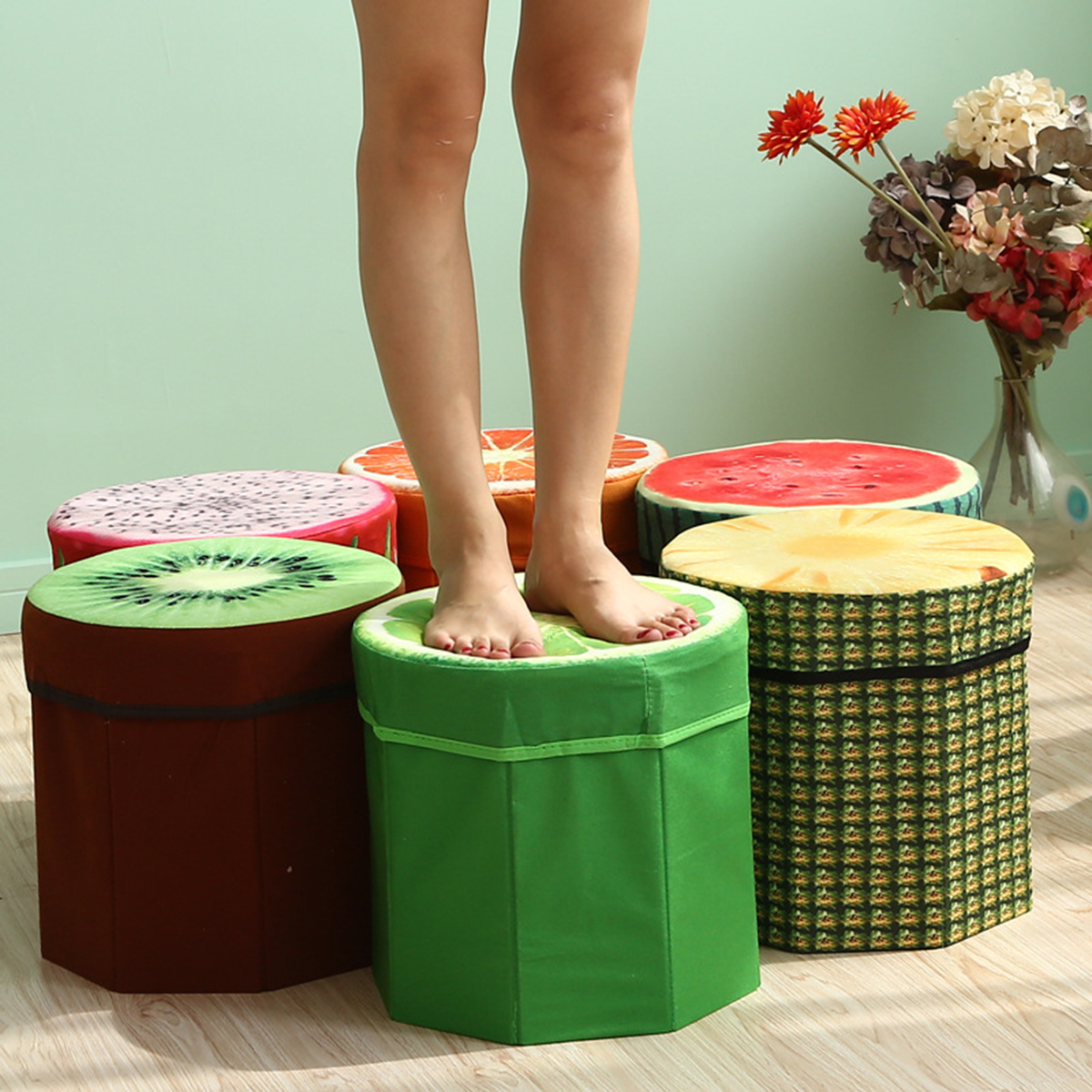 Creative Fruit Folding Storage Organizer Ottoman Stool Footstool Seat Storage Box Size Small Storage box Organizer