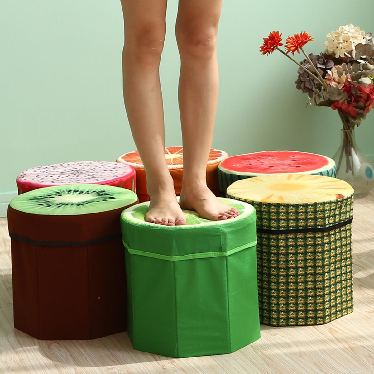 Creative Fruit Folding Storage Organizer Ottoman Stool Footstool Seat Storage Box Size Small Storage Box Organizer
