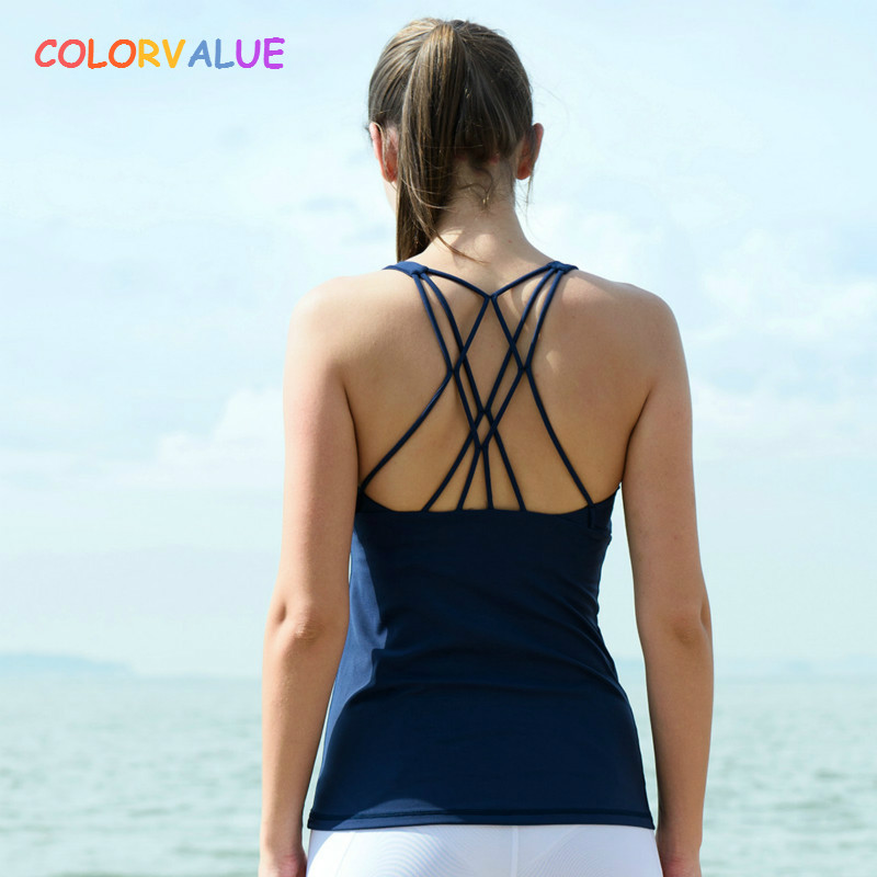 Colorvalue Chic Back Slim Fit Sport Workout Yoga Vest Women High Quality Soft Nylon Workout Gym Fitness Tank Tops Activewear colorvalue 3d digitial printed yoga sport sets women removable pads vest top high waist athletic tights fitness suit activewear