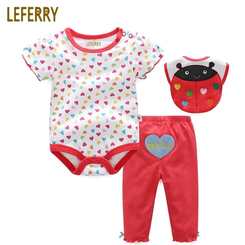 Roupas de bebê Definir 3PCS Bodysuits Do Bebê + Calça + Babadores Roupas de Bebê Menino Macacão de Algodão Do Bebê Recém-nascido Meninas Infantis roupas de Verão