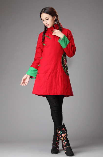 Winter chinese style retro slanting lapel frog embroidery overcoat shell slim cotton padded jacket cotton-padded clothes