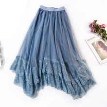 2019 New Spring Little Fairy Skirt Romantic Lace Tulle Women Mesh Irregular A Line Big Swing tutu Skirts for