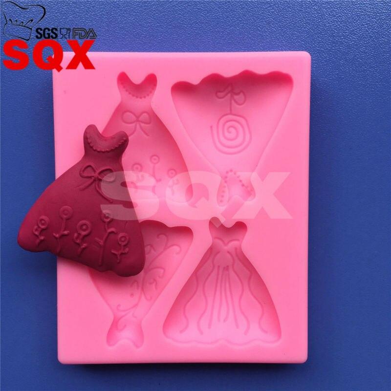 63cf67b14 ჱTee Vestido Fondant Bolo de molde de Silicone