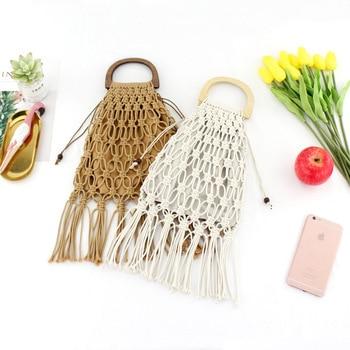 Hollow Tassel Rattan Bags Handmade Wood Handle Womens Handbags Woven Rope Straw Bag Casual Totes Summer Beach Purse Shopping Sac 2