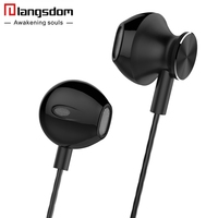 Langsdom R9C 3 5mm Ergofit Earphone Metal Bass Earphones With Microphone Headset Earbuds For Phone Computer