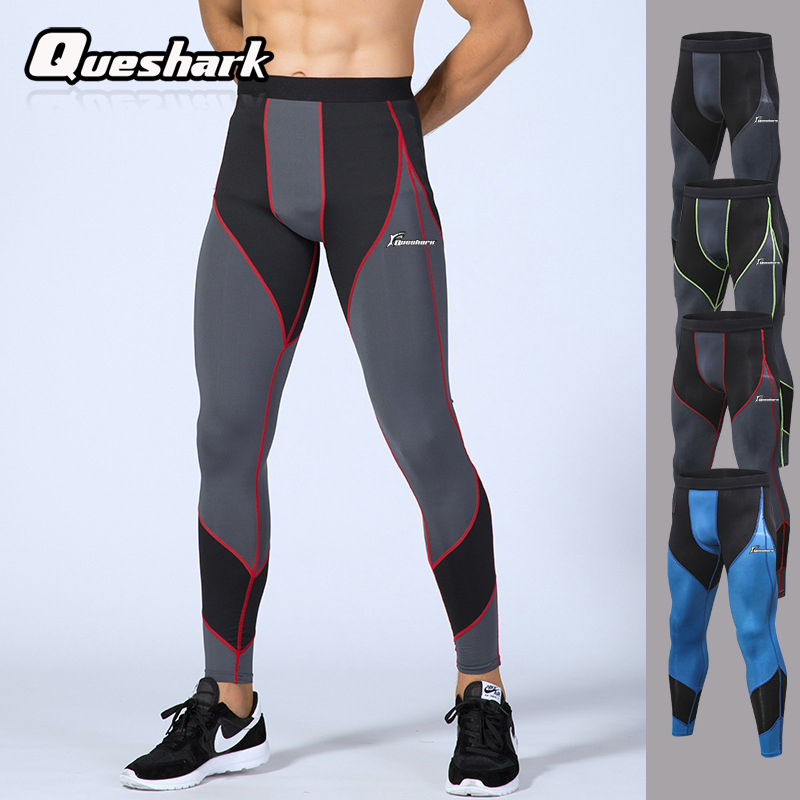 Queshark Professional Men Compression Tights Pants Splice Style Breathable Quick Dry Sports Running Fitness Workout Trousers