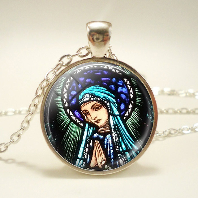 Praying mother mary pendant necklace virgin mary stained glass praying mother mary pendant necklace virgin mary stained glass necklace religious jewelry art nouveau pendant christian aloadofball Image collections