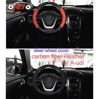 380MM Auto Steering Wheel Cover For Audi A1/A2/A3/A4/A5/A6/A7/A8/Q1/Q3/Q5/Q7 Carbon Fiber&Leather Car steer wheel accessories