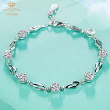 CZ Crystal Bracelet 925 Sterling Silver Bangle Single With Swarovski Rhinestones Women Wedding Bridal Gift Jewelry
