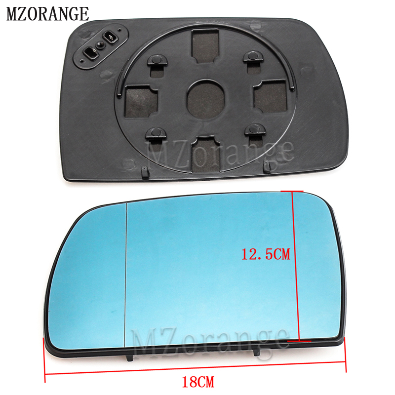 MZORANGE 1Pair Blue Wide Angle Rear View Heated Mirror Glass Rearview Heating Tinted Mirror For BMW X5 E53 2000 2006 Left+Right