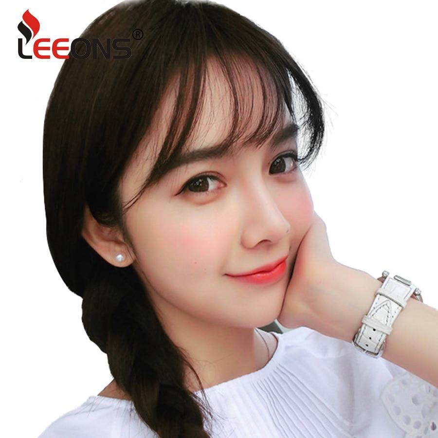 Leeons falso longo blunt franja grampo de cabelo-em extensão falso franja 100% real natural falso hairpiece para mulheres clip em franja