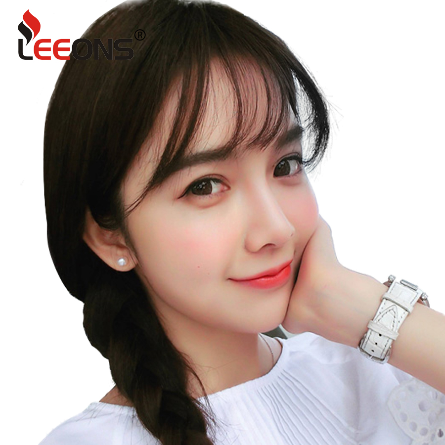Leeons Fake Long Blunt Bangs hair Clip-In Extension Fake Fringe 100% Real Natural False hairpiece For Women Clip In Bangs 网 红 小 姐姐