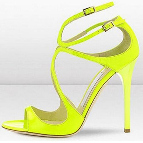 ФОТО Hot Selling Classic High Heel Shoes Women's New Fashion Sexy High Heels Double Ankle Buckle Thin Cut-Out Dress Shoes For Women