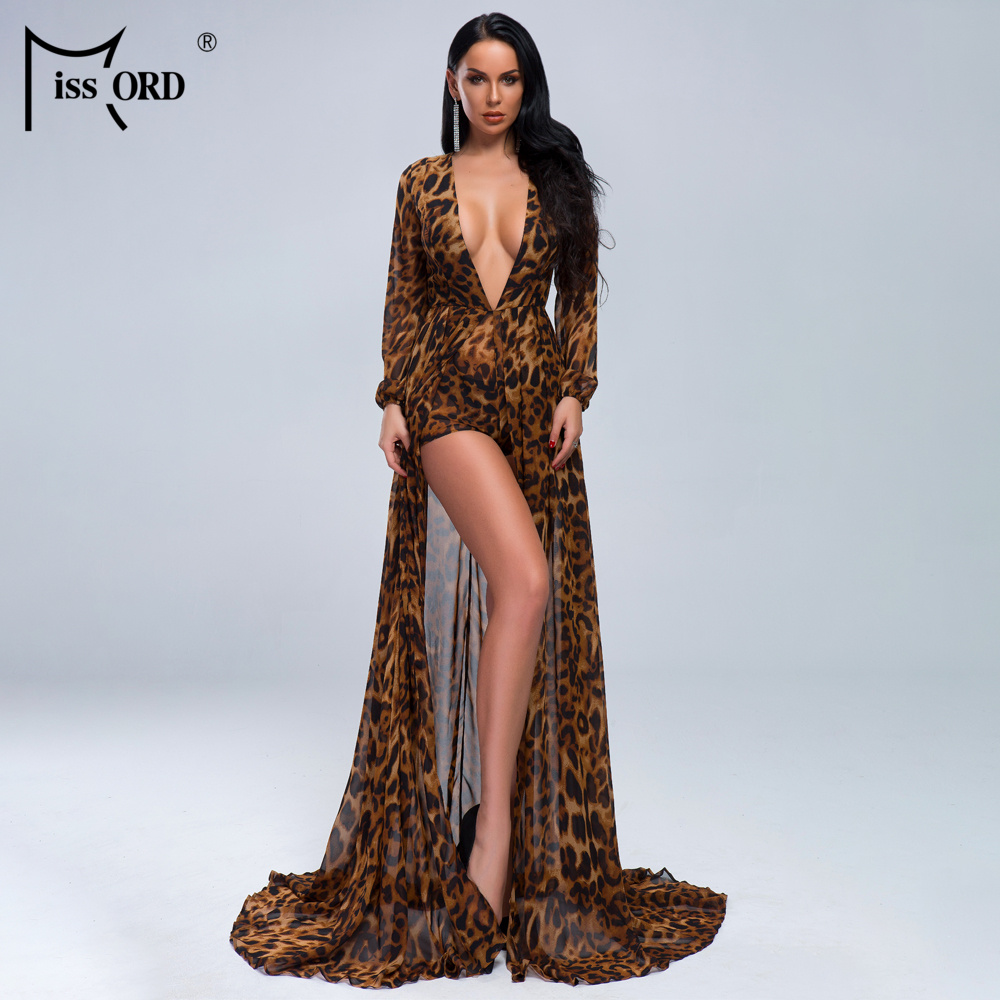 Missord 2020 Sexy  Deep V-Neck Open FRONT SPLIT Cloak Style Leopard Chiffon Playsuit JUMPSUITS FT19443