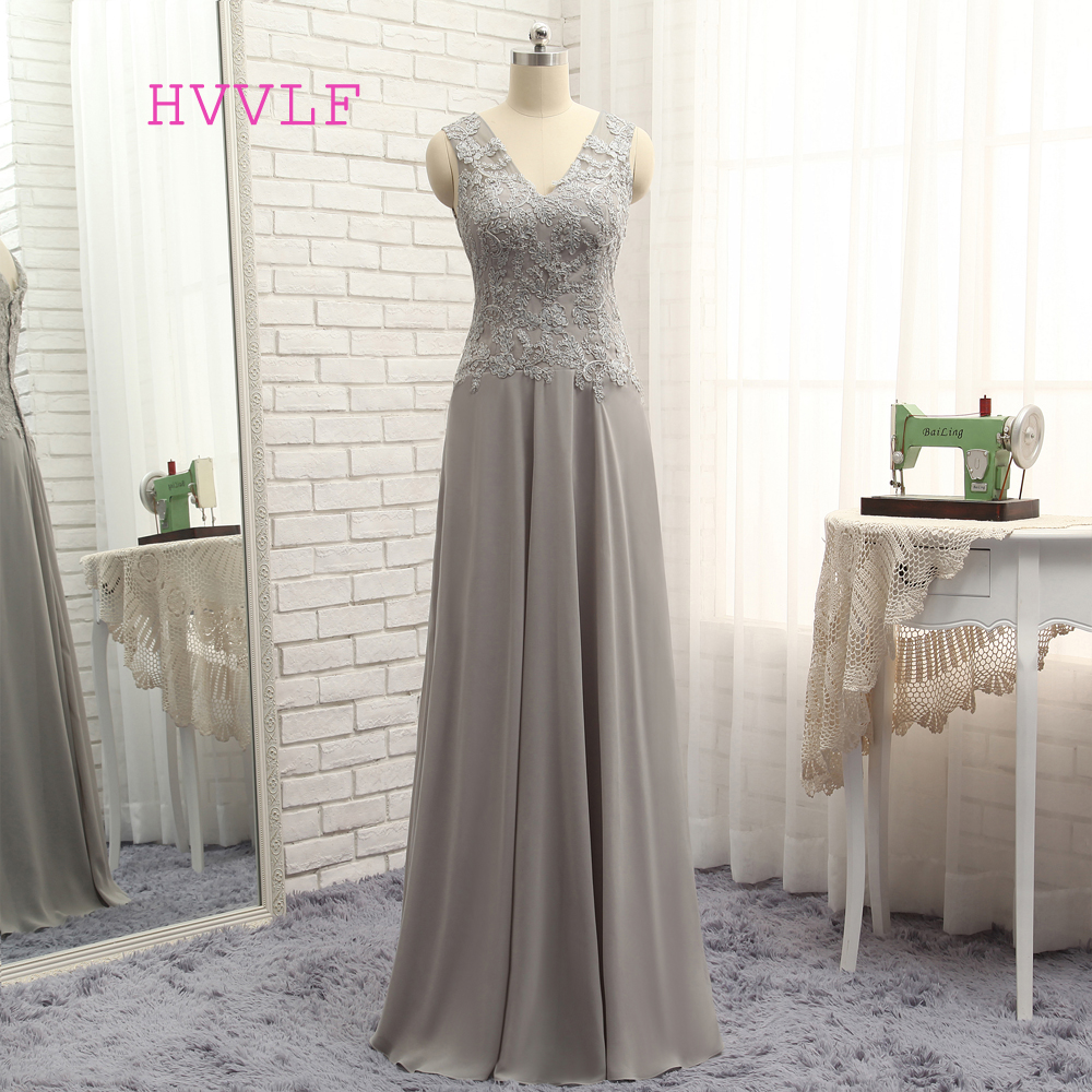 Plus Size Gray 2019 Mother Of The Bride Dresses A-line V-neck Chiffon Lace Long Wedding Party Dress Mother Dresses For Wedding