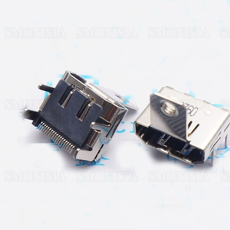 HDMI Interface Female Socket With Ear 19P SMD Type HDMI Transmission Socket With Screw Holes