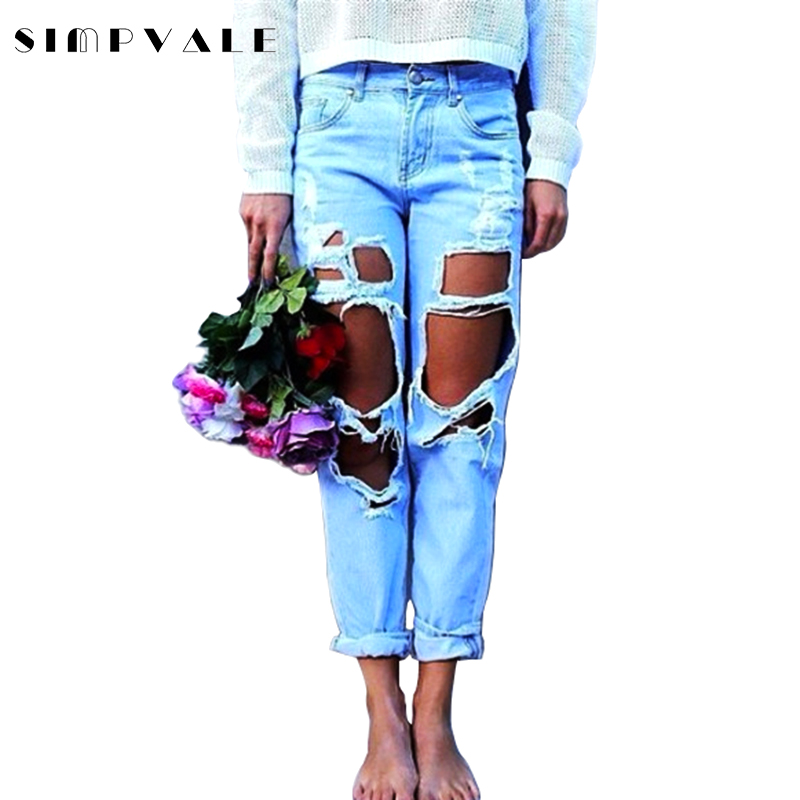 2017 Fashion Ripped Jeans Women Casual Washed Holes Jeans Regular Long Wild Denim Pants S XL