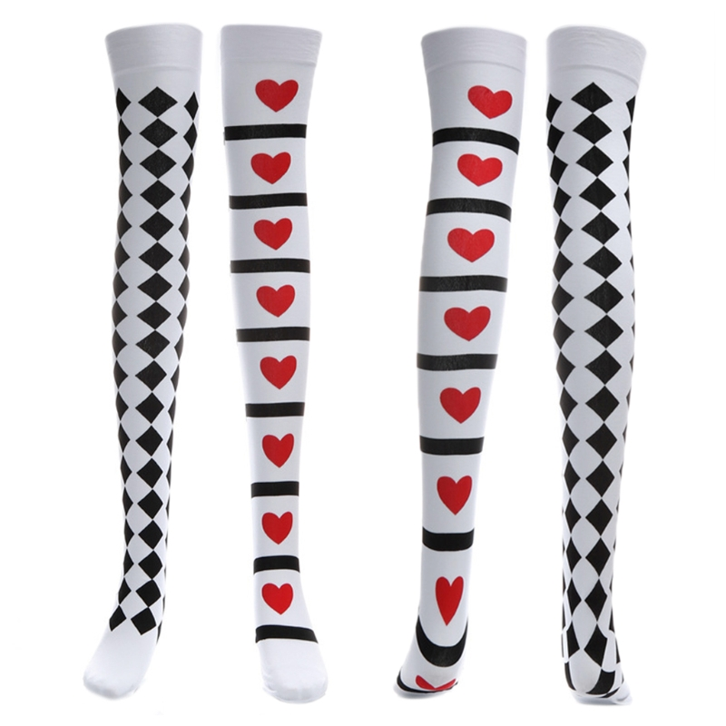 68cm Fashion Poker Card Suit Print Thigh High Stockings Cosplay Costume Long Socks Gothic Halloween Socks Costumes Accessories