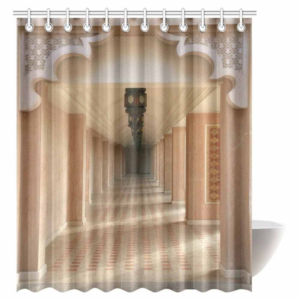 Aplysia Arabian Decor Shower Curtain Moroccan Style Walkway with Islamic Motifs and Arabic Art Elements Visual Oriental Bathroom