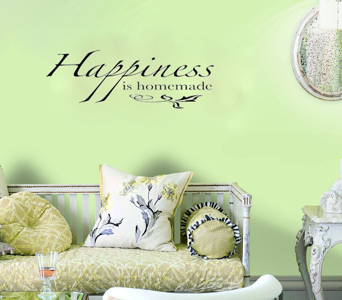 Happiness Is Homemade Wall Art Decals Home Decoration Living Room Decorative Wallpaper Bedroom Wall Decals Quote