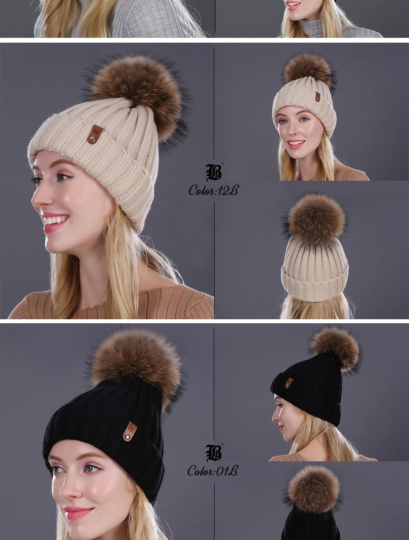 [FLB] Wholesale Real Mink Fur Pom Poms Knitted Hat Ball Beanies Winter Hat For Women Girl 'S Wool Hat Cotton Skullies Female Cap 30