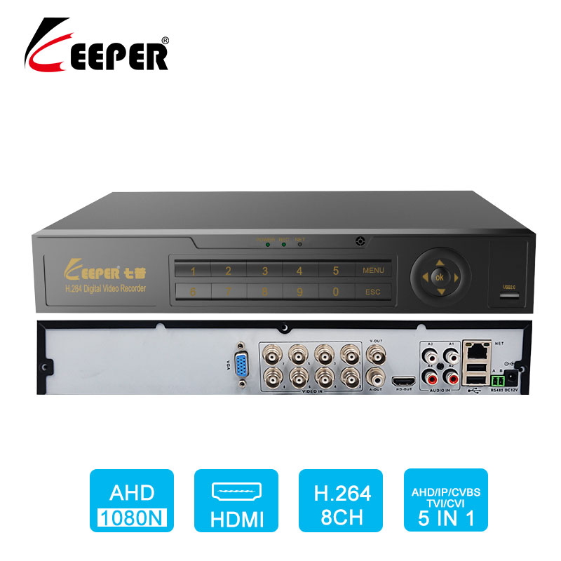 1080n formát - Keeper 8CH 1080N 5 in 1 DVR video recorder for AHD Camera Analog Camera IP camera P2P CCTV System DVR H.264 VGA HDMI Recorder