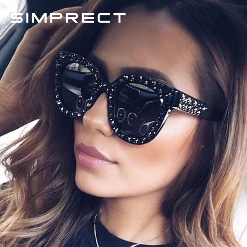 SIMPRECT Vintage Cat Eye Sunglasses Women 2020 Gypsophila Retro Square Mirror Sun Glasses Brand Designer Lunette De Soleil Femme