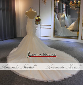 Image 5 - Off the shoulder straps mermaid wedding dress long train mariage