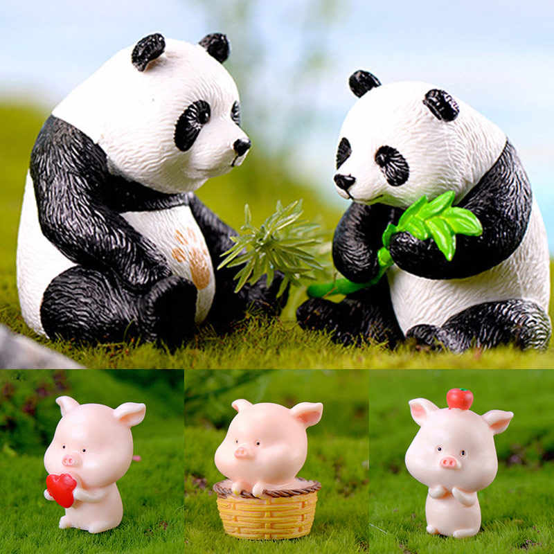 1PC Fashion Figurines Resin Miniatures Animal Deer Cute Horse Craft Owls Panda Pig Home Decoration Garden Ornament