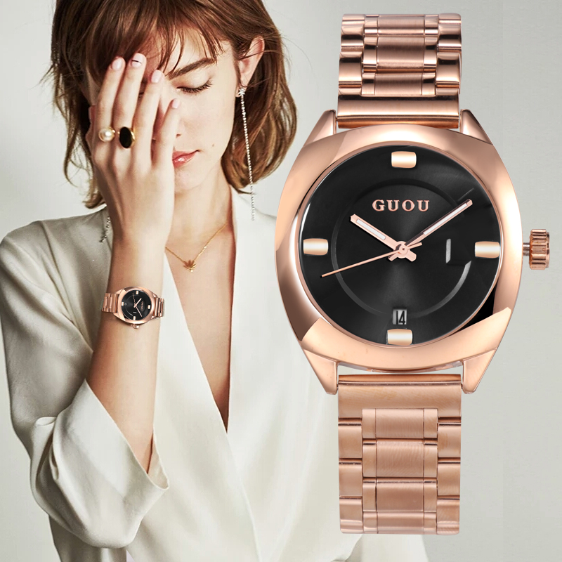GUOU Women Watches 2018 New Ladies Watch Rose Gold Bracelet Watch Stainless Steel Auto Date Watch Clock relogio feminino saat guou watch women luxury rose gold ladies watch auto date full steel quartz watch wristwatch saat relogio feminino reloj mujer