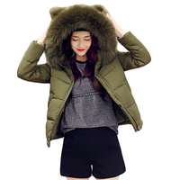 Women Winter Jacket 2017 Girls Cute Short Cocoon Coat Female Warm Ear Large Fur Hooded Thick