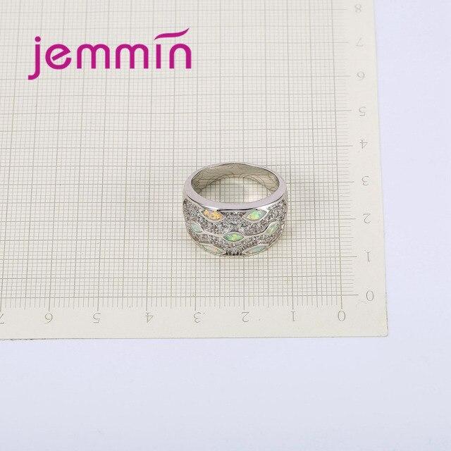 Jemmin di Nuovo Modo Opal anelli Ragazze Adolescenti Anelli Bianco Opale di Fuoco 925 Sterling Silver CZ Anello Dei Monili di Cristallo