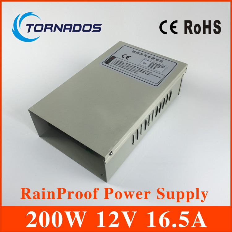 200W 12V 16.5A Rainproof Power Supply,Lighting Transformers CE ROHS цена