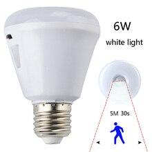 pir infrared motion sensor e27 6w led night light flexible energy saving nightlight bathroom garages corridors lamp 100240v
