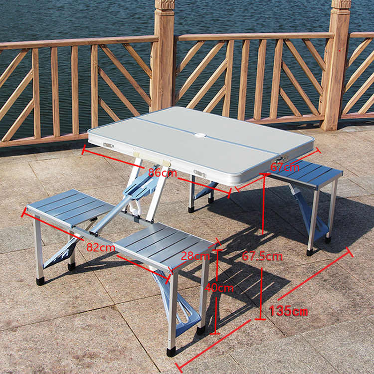 Outdoor Folding Table Portable Aluminum Alloy Piece Table And Chair Set  Picnic Barbecue Stall Booth Publicity