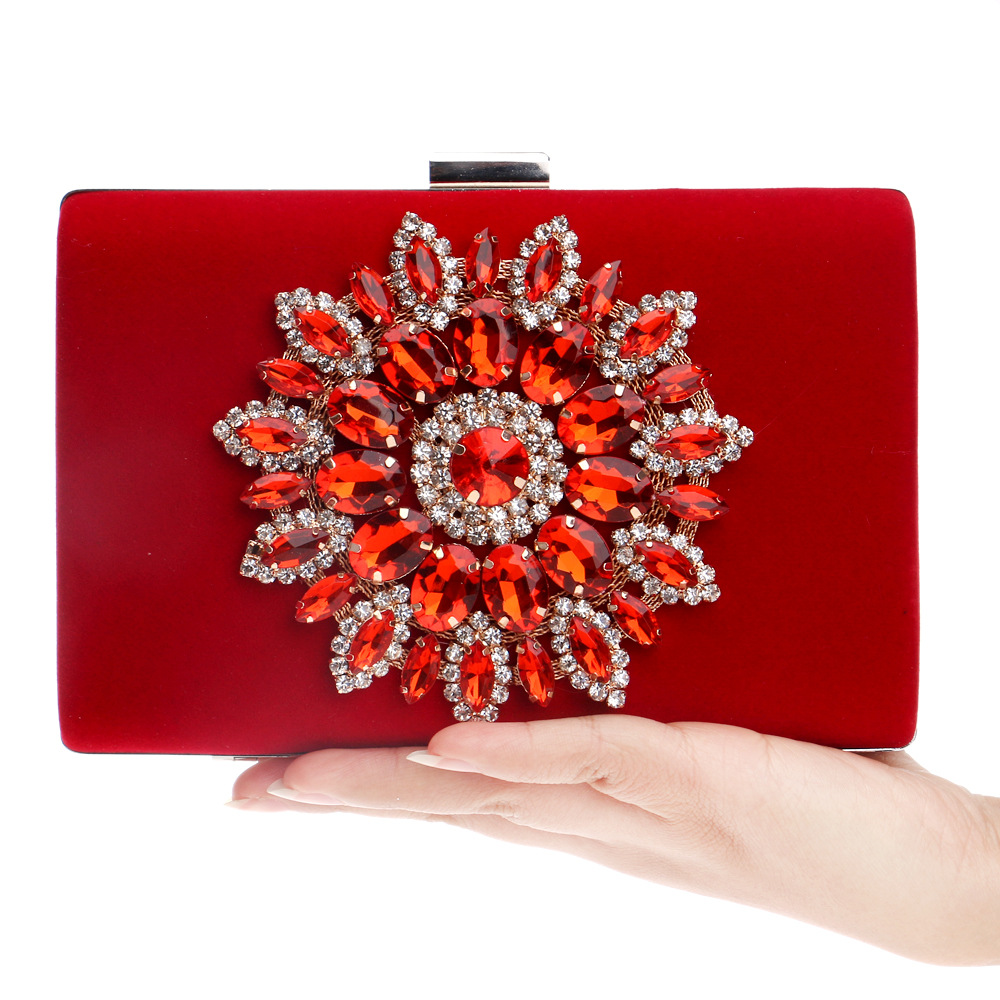 Luxury Women Flower Diamond Evening Bag Velvet Crystal Wedding Bridal Party Red Box Purse Clutches Chains Handbags Makeup Bag