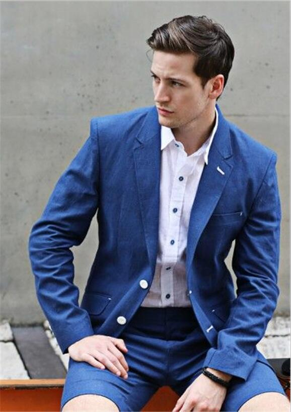 2017 Latest Coat Pant Designs Navy Blue Casual Suits For Men Short Pants Custom Summer Slim Fit 2 Pieces Terno Jacket+Pants 152