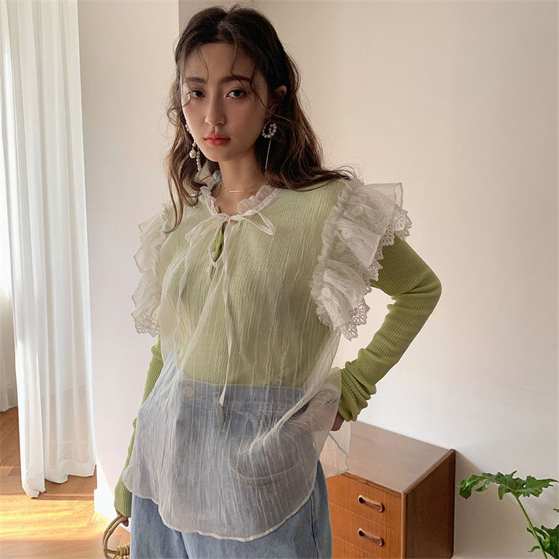 Alien Kitty Hot Light 2019 Summer Sleeveless Casual Lace Up Loose Fresh Simple Sexy Ruffles Sweet All-Match Shirts 2 Colors