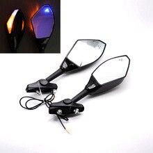 купить Universal For Honda Kawasaki Suzuki Yamaha All Street Bikes Motorcycle ABS LED Turning Signal Integrated Side Rearview Mirrors дешево
