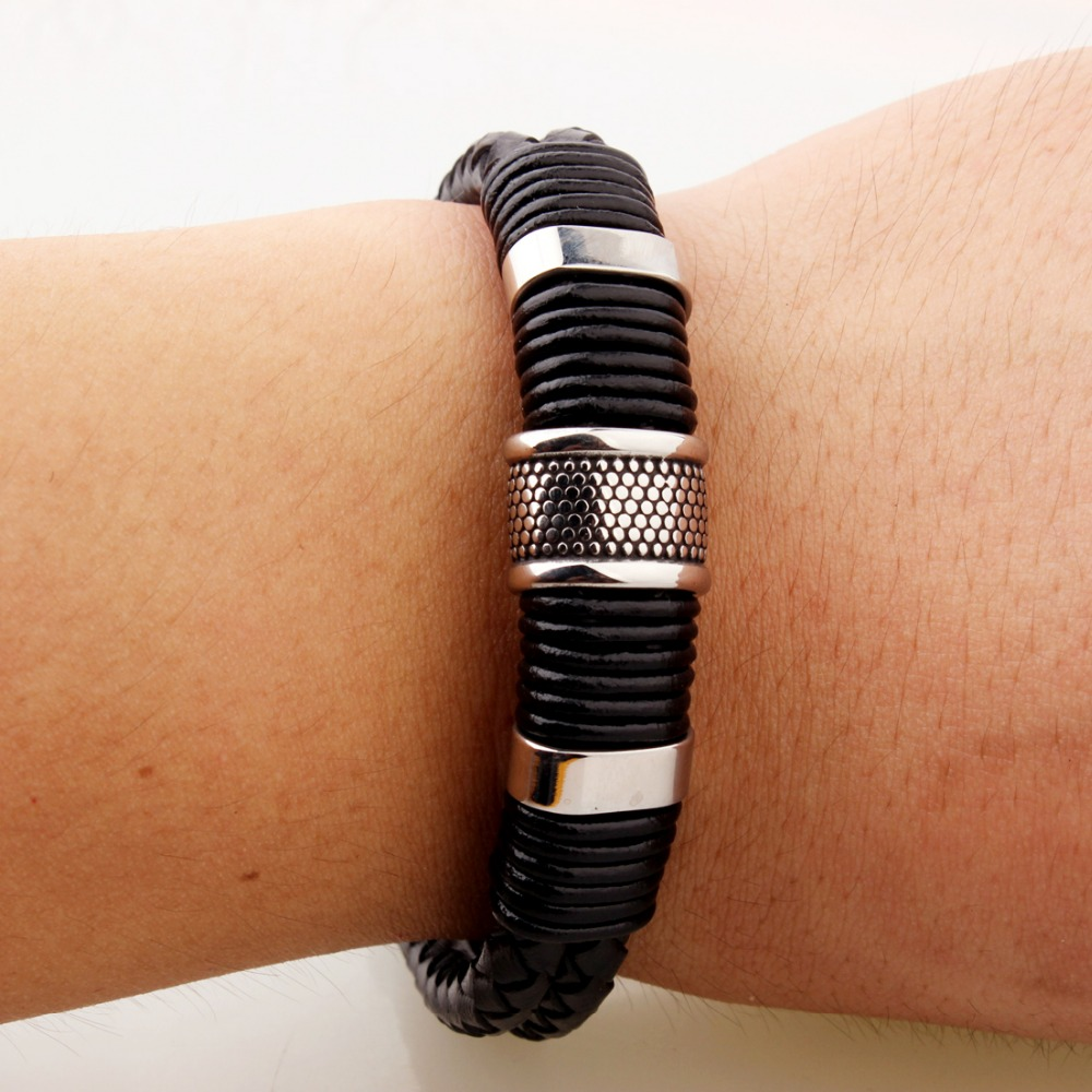 New Hot Mens Leather Wrap Braide Stainless Steel Dragon Curb Chain Bracelet
